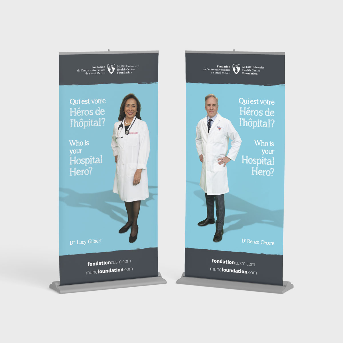 Hospital Hero banners for the MUHC Foundation